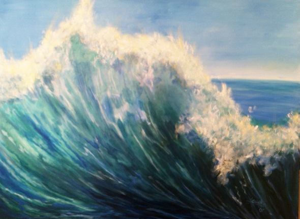 BiG WAVE - Original Large Oil Painting on sale by Pamela Squires